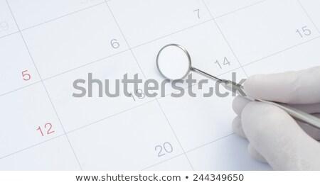 Stockfoto: Tandarts · kalender · kantoor · papier · pen