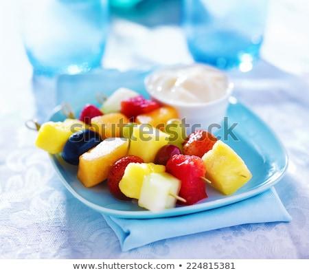 新鮮果物 ディップ サイド ヨーグルト ミント 葉 ストックフォト © rojoimages