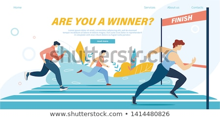 Runners crossing the finish line, illustration Stock photo © Morphart