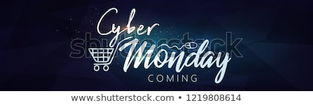 vector cyber monday sale background vector illustration of embossed letters on blue blurred backgro stock photo © rommeo79