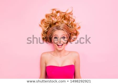 Sorpreso tenero bella i capelli ricci bellezza Foto d'archivio © deandrobot