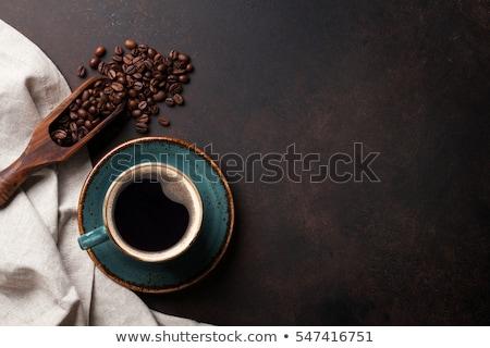 Zwarte koffie glas bed koffiebonen drinken zwarte Stockfoto © Digifoodstock
