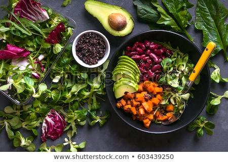 Vegetarisch maaltijd raket salade knop champignons Stockfoto © Digifoodstock