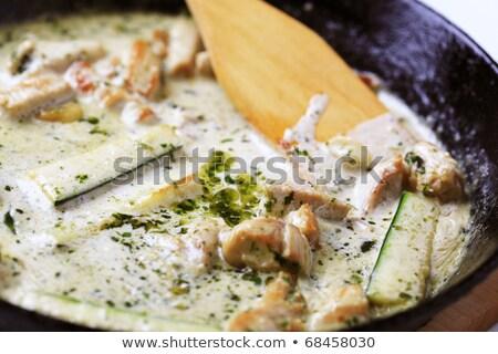 Poulet viande courgette crème sauce dîner Photo stock © Digifoodstock