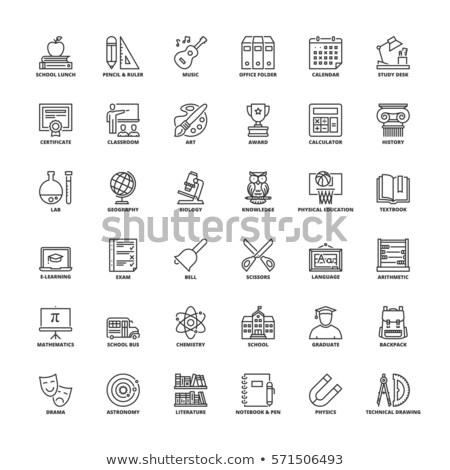 Flat Line Art School Subjects Icons Stock photo © vectorikart