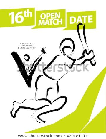 Basit erkekler oynama kriket örnek beyaz Stok fotoğraf © bluering