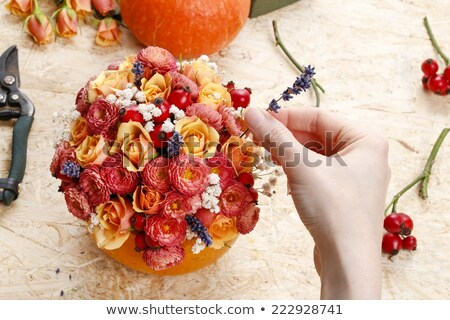 Table centerpiece with ornamental pumpkins Stock photo © ozgur