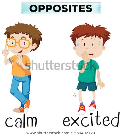 Oposto palavras animado ilustração criança Foto stock © bluering