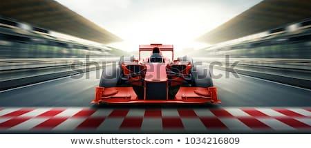 Race auto bestuurder zwart wit illustratie vector Stockfoto © derocz