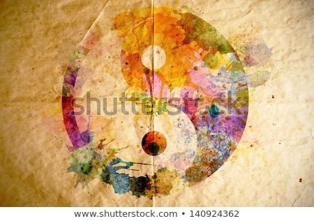 цветочный · Инь-Ян · символ · четыре · цветами · аннотация - Сток-фото © blackmoon979