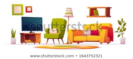 Stanza bianco poltrona scaffali illustrazione home Foto d'archivio © bluering