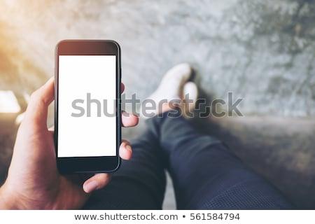 Foto stock: Masculina · mano · teléfono · móvil · hasta · Screen