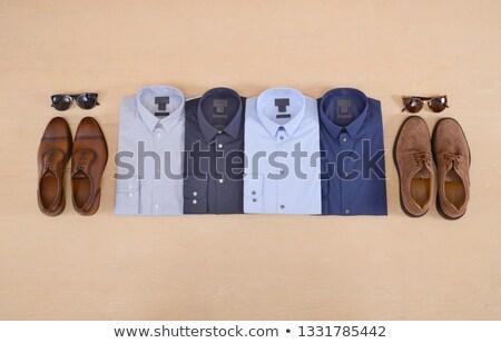 Zapatos cuatro estantería madera Foto stock © deandrobot