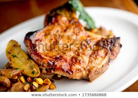 Stock fotó: Grillezett · méz · disznóhús · kettő · vágódeszka