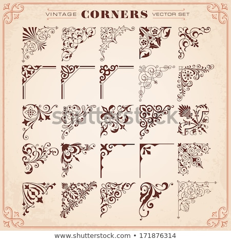 Decorative calligraphic ornaments, corners, borders and frames on a chalkboard background - for page Stock photo © blue-pen
