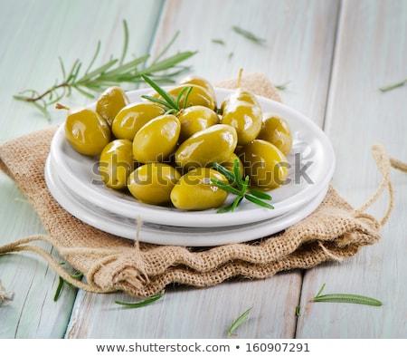 Yeşil zeytin biberiye çanak taze gri Stok fotoğraf © Digifoodstock