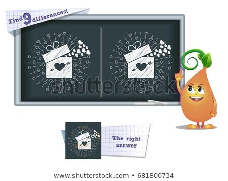 Trouver différences jeu cadeau Valentin enfants Photo stock © Olena