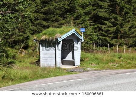 Tradycyjny przystanek autobusowy Norwegia strona drogowego kraju Zdjęcia stock © compuinfoto