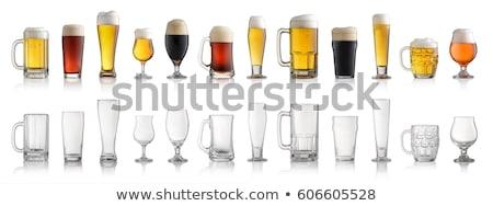 Vacío cerveza gafas blanco vidrio fondo Foto stock © DenisMArt
