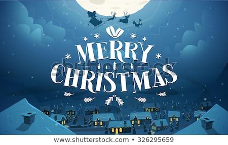Natale · notte · panorama · cadere · neve · luce - foto d'archivio © romvo