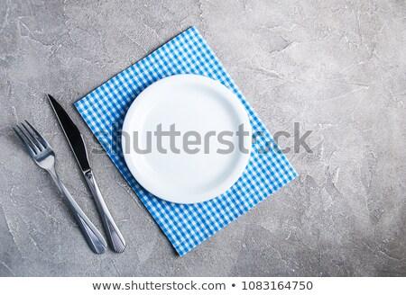 forcella · coltello · tavolo · in · legno · piatto · veloce - foto d'archivio © nito