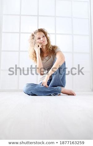 Sorridente gengibre mulher camisas jeans sessão Foto stock © deandrobot