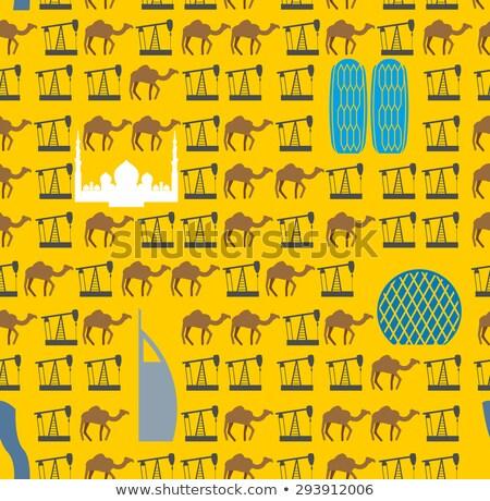 Szimbólumok tevék olaj sivatag végtelen minta vektor Stock fotó © popaukropa