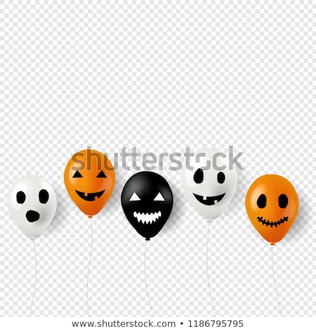 halloween bunting flags with banner and balloons transparent bac stock photo © barbaliss