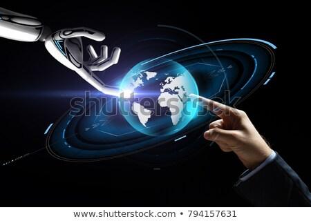 Zakenman robot virtueel aarde hologram toekomst Stockfoto © dolgachov