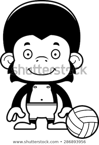 Karikatür gülen plaj voleybol oyuncu şempanze Stok fotoğraf © cthoman