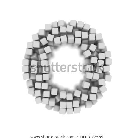 White voxel cubes font Letter O 3D Stock photo © djmilic