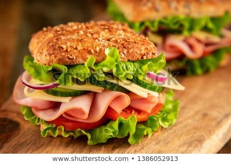 サンドイッチ ハム 木板 食品 緑 パン ストックフォト © Alex9500