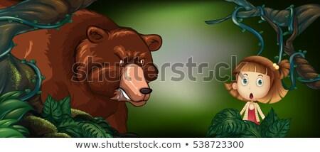 ビッグ クマ 女の子 森 実例 子 ストックフォト © colematt