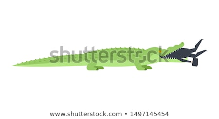 Crocodile eaten businessman. Alligator open mouth and Boss. offi Stock photo © MaryValery