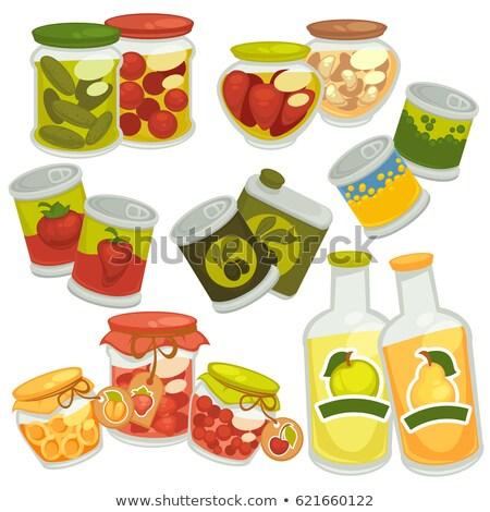 Azeitonas conservado comida vidro jarra vetor Foto stock © robuart