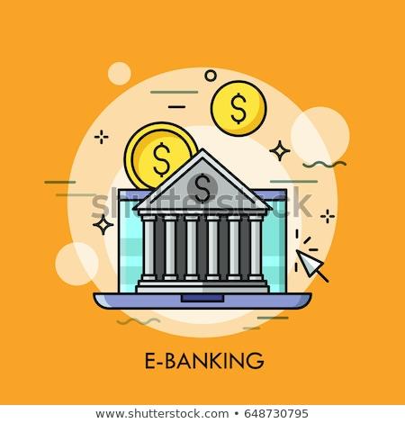 Online banking poster laptop vettore testo Foto d'archivio © robuart