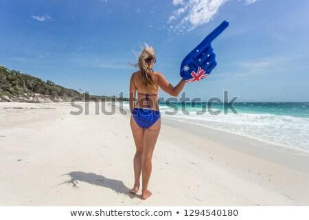 Australisch cultuur vakantie bikini vrouw wijzend Stockfoto © lovleah