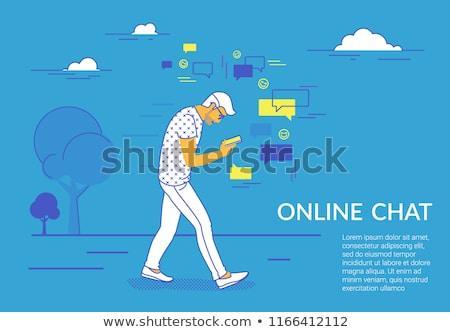 Smartphone addiction concept landing page. Stock photo © RAStudio