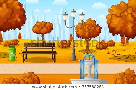 Otono vista parque fuente linterna vector Foto stock © robuart