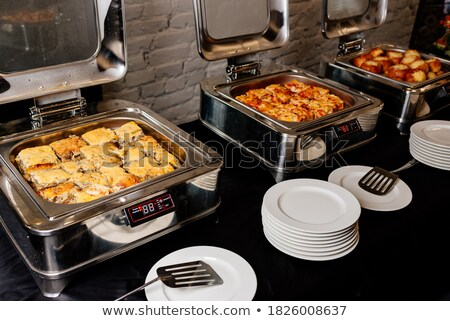 Gratin, julienne or casserole portion in plate Stock photo © artsvitlyna