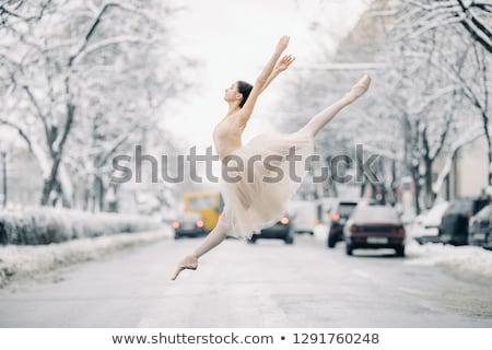 красивой балерины танцы прыжки улице прозрачный Сток-фото © Stasia04