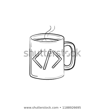 coffee cup with code sign hand drawn outline doodle icon stock photo © rastudio