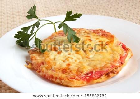 Foto stock: Mini · vermelho · queijo · comida · pizza