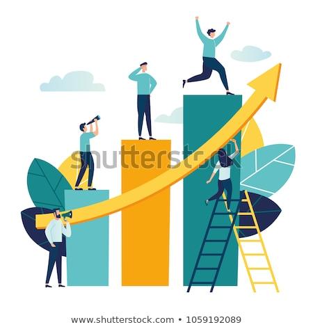 üzletember fut felfelé oszlopok grafikon motiváció Stock fotó © RAStudio