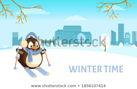 Penguin in Earmuffs and Scarf on Skis with Sticks Stock photo © robuart