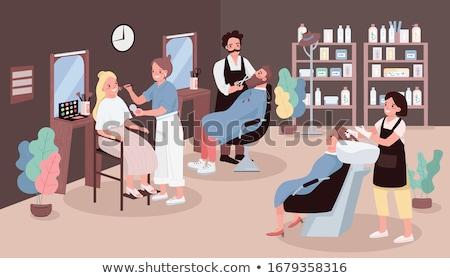 Procedures in Hairdressing Salon Cartoon Banner Stock photo © robuart