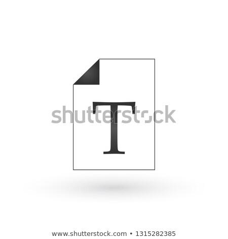 Oldal t betű szöveg irat ikon háló Stock fotó © kyryloff
