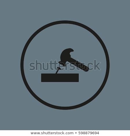 икона молота бить ногтя тонкий линия Сток-фото © angelp