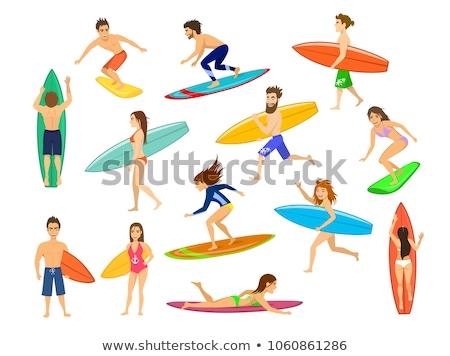 вектора набор Surfer спорт лет поиск Сток-фото © olllikeballoon