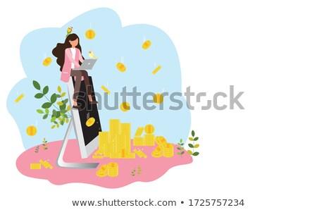 Stock photo: Business woman making money